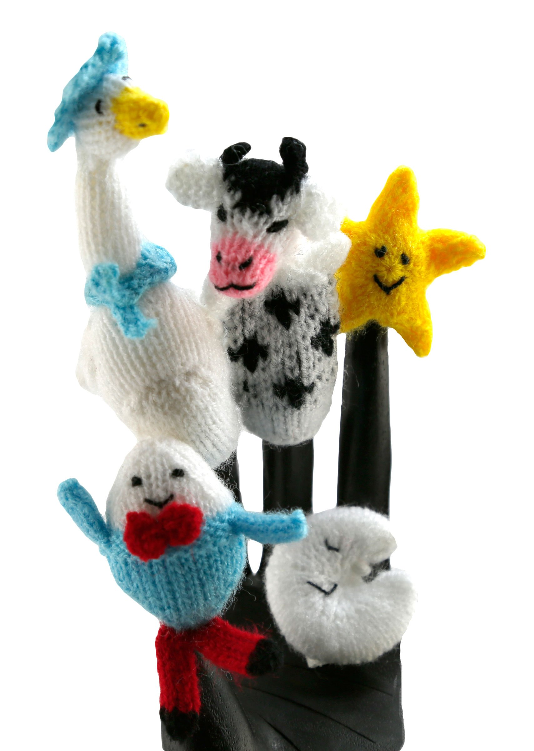 Mother Goose Nursery Ryhmes Finger Puppet Set of 5 - Fair Trade from Peru, Includes Humpty Dumpty, Twinkle Twinkle Little Star, Hey Diddle Diddle The Cow Jumped Over The Moon, and Mother Goose
