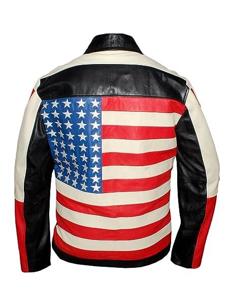 Leatherly Chaqueta de hombre americano Bandera estilo chaqueta de cuero negro- 5XL: Amazon.es: Ropa y accesorios