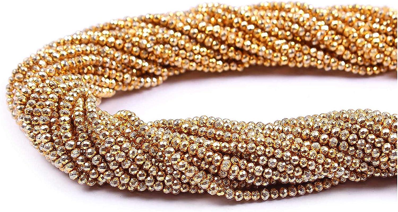 Neerupam Collection 2 mm Pirita Dorada Natural facetado rondelle Semi Preciosas Piedras Preciosas Perlas Sueltas para la elaboración de Joyas Pendiente de la Pulsera Collar, Lote de 1 hebras