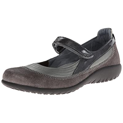 Naot Women's Kirei Mary Jane Flat, Sterling Leather/Gray Shimmer Leather/Gray Patent Leather, 40 EU/8.5-9 M US | Oxfords