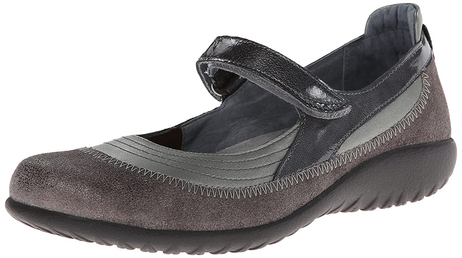NAOT Footwear Women's Kirei Mary Jane Flat B00IFPOO1S 41 EU/9.5 - 10 M US|Sterling Leather/Gray Shimmer Leather/Gray Patent Leather