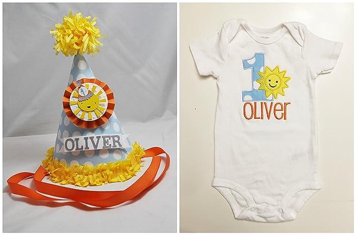 Boy Sunshine 1st Birthday Shirt Party Hat Set Personalized