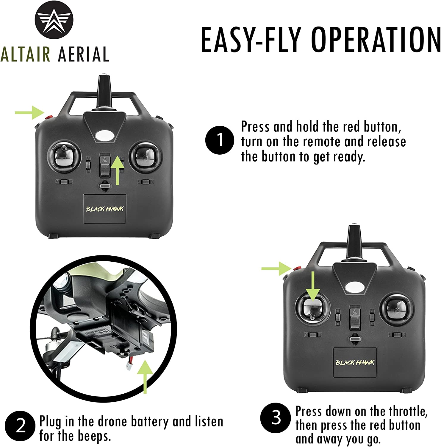 Altair Aerial Blackhawk review of transmitter & how to fly instruction