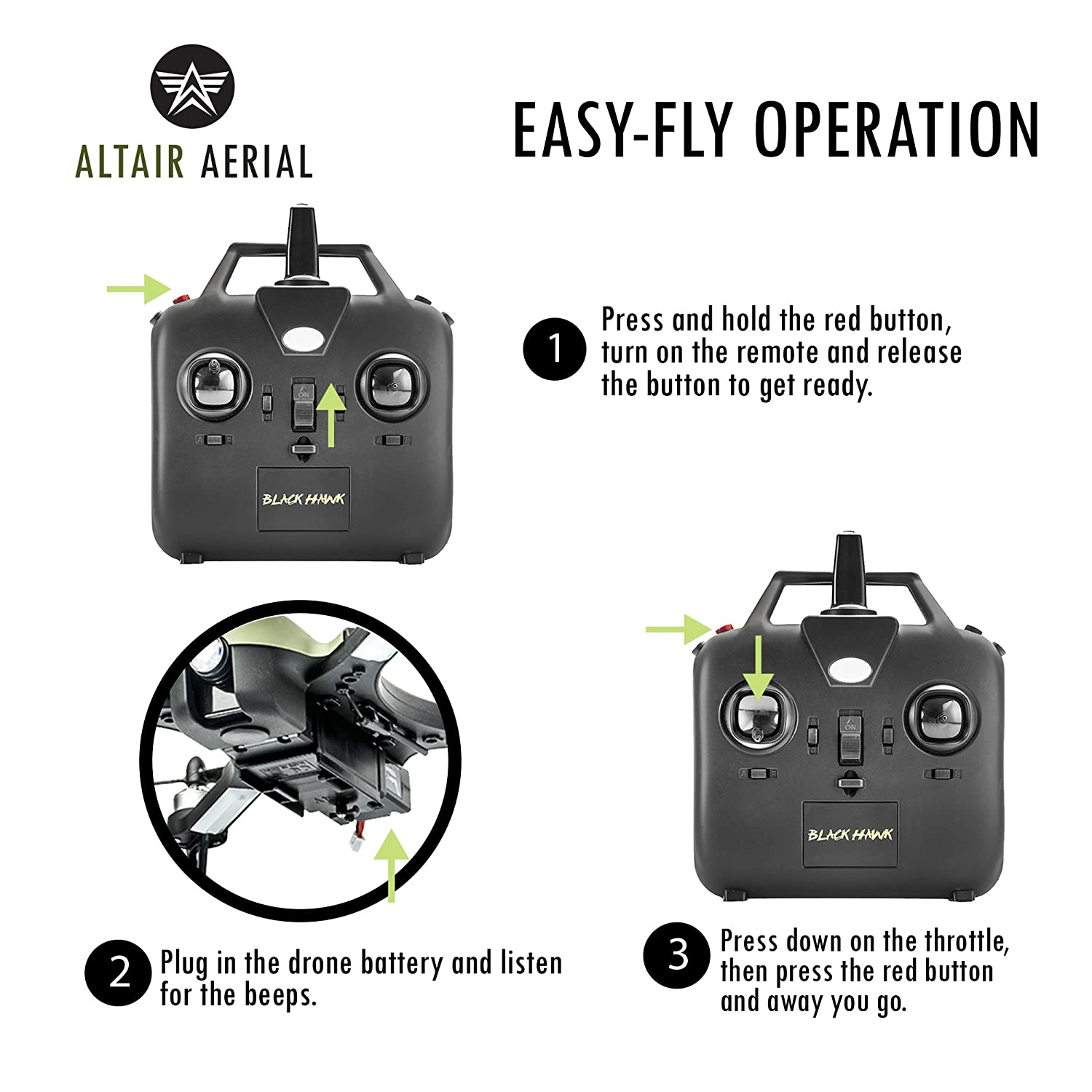 Altair Aerial Blackhawk Long Range & Flight Time Drone w Camera Mount  (GoPro Hero3 and Hero 4 Compatible) Extreme Speed & Handling, Heavy Duty