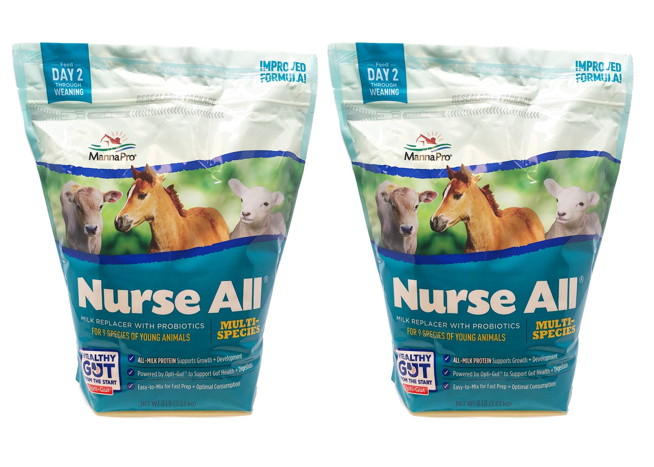 Manna Pro NurseAll Non-Medicated Milk Replacer, 8 lb (Pack of 2) by Manna Pro