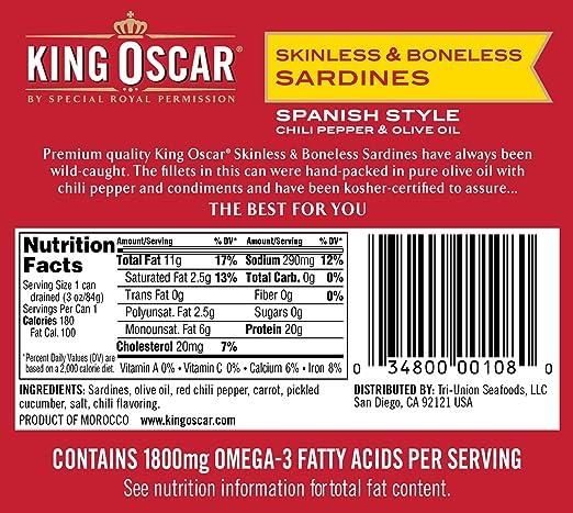 Amazoncom King Oscar Skinless Boneless Sardines Spanish Style