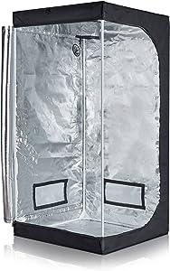 "TopoLite Full Range Multiple Sized 32""x32""x63"" Indoor Grow Tent Room 600D Mylar Hydroponic Growing Plant w/Plastic Corner (32""x32""x63"")"