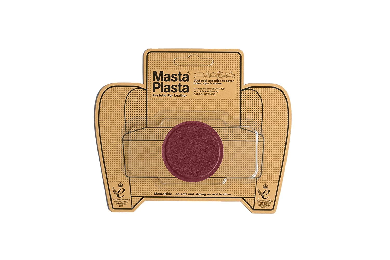 Red MastaPlasta Self-Adhesive Leather Repair Patches. Choose size/design. First-aid for sofas, car seats, handbags, jackets etc (RED SMALL CIRCLE 5cmx5cm) MastaPlasta Ltd UKMPCRLRED