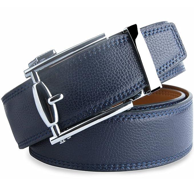 Hombres Cinturón De Cuero Azul Con Hebilla Diseñado para caballero LOWD-U1016 PrtEGS1d6W