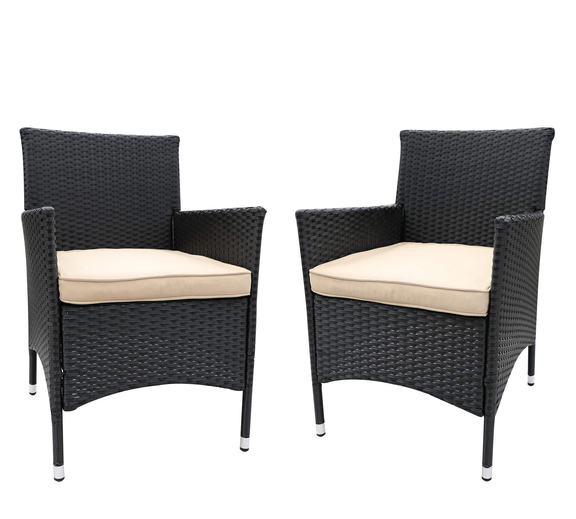 Do4U 2 Pcs Rattan Wicker Outdoor Dining Chairs   Patio, Backyard, Porch, Garden, Poolside (3014-BLK-BRN)