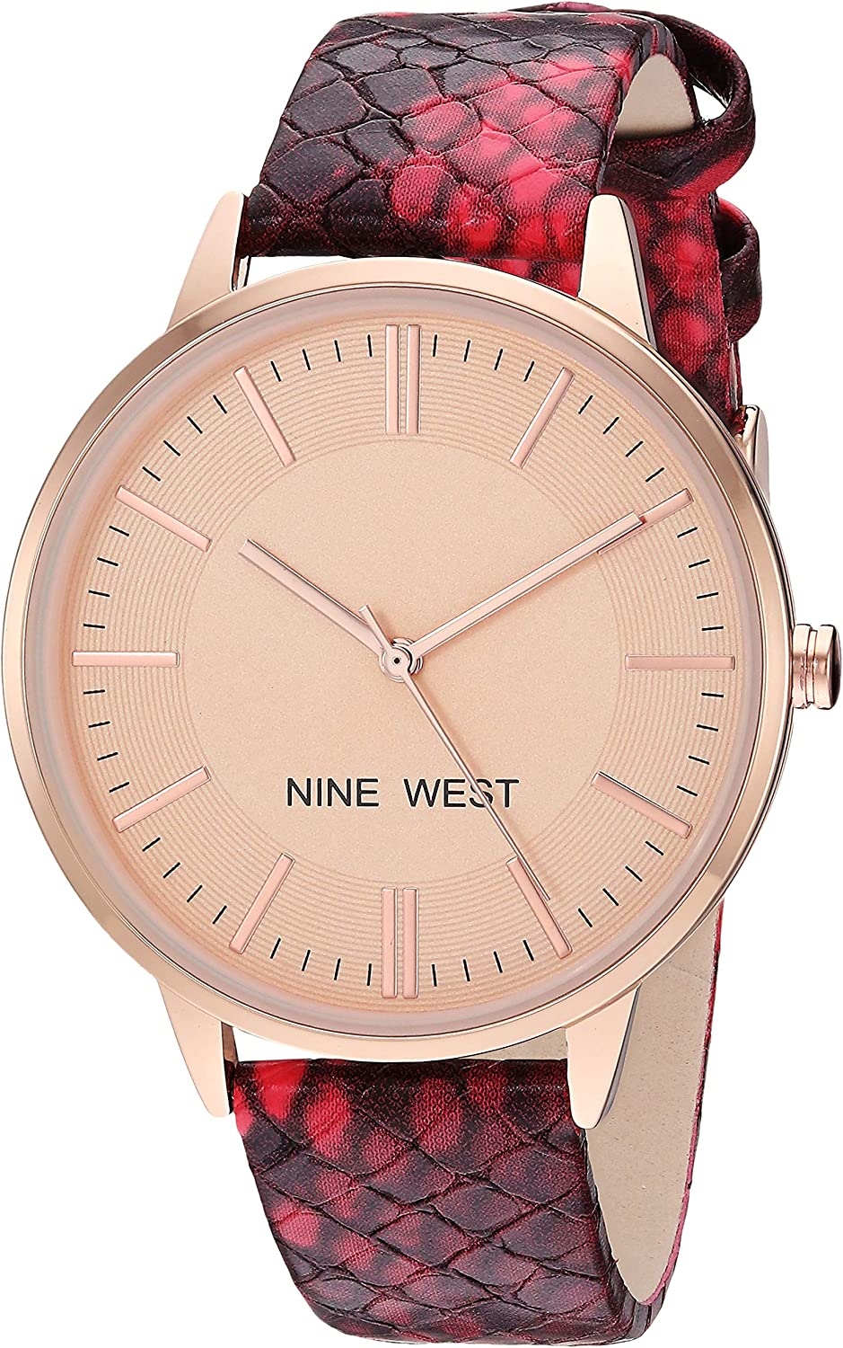 Nine West Womens Rose Gold-Tone and Burgundy Snake Patterned Strap Watch  NW 2326RGBY