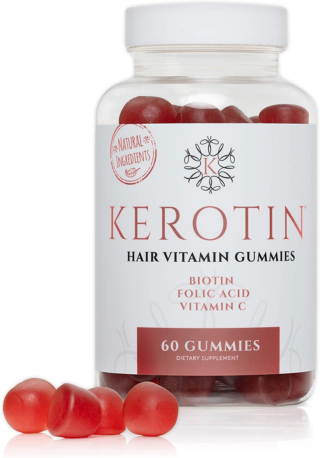 Kerotin Hair Growth Gummies - Vegetarian, Natural and 100% Made in The US - for Thinning Hair and Faster Growth - Berry Flavored, Contains Biotin and Essential Vitamins