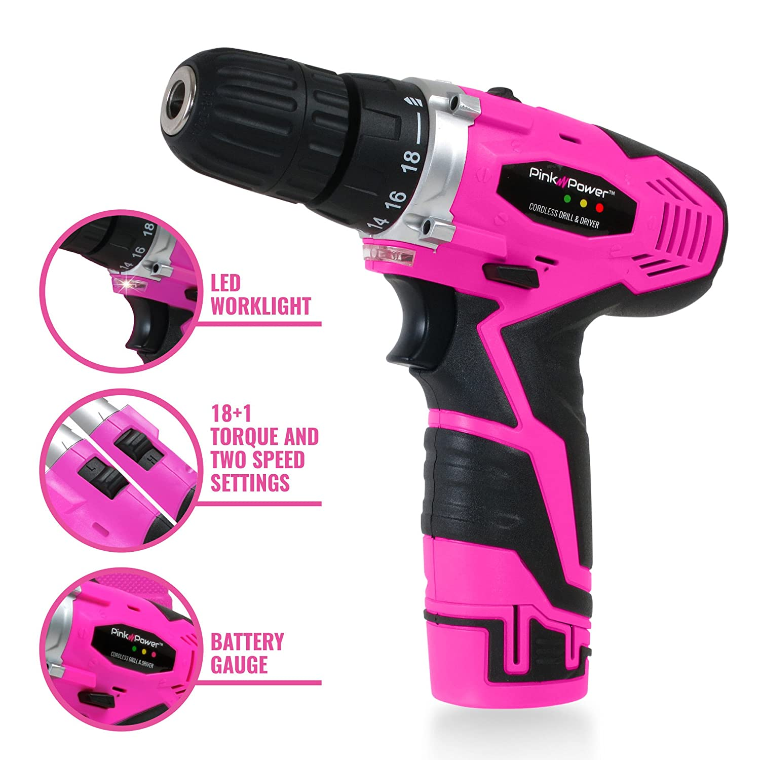 8a352afb4b24b7 Amazon.com: Pink Power PP121LI 12V Cordless Drill & Driver Tool Kit for  Women- Tool Case, Lithium Ion Electric Drill, Drill Set, Battery & Charger:  Home ...