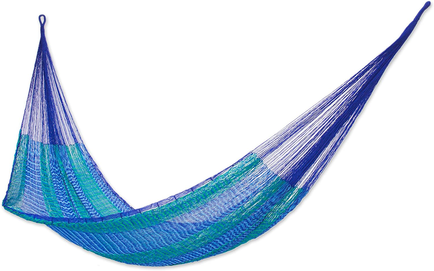 NOVICA Green Bright Blue Striped Nylon Hand Woven Mayan Rope 2 Person XL Hammock, Cool Lagoon' (Double)