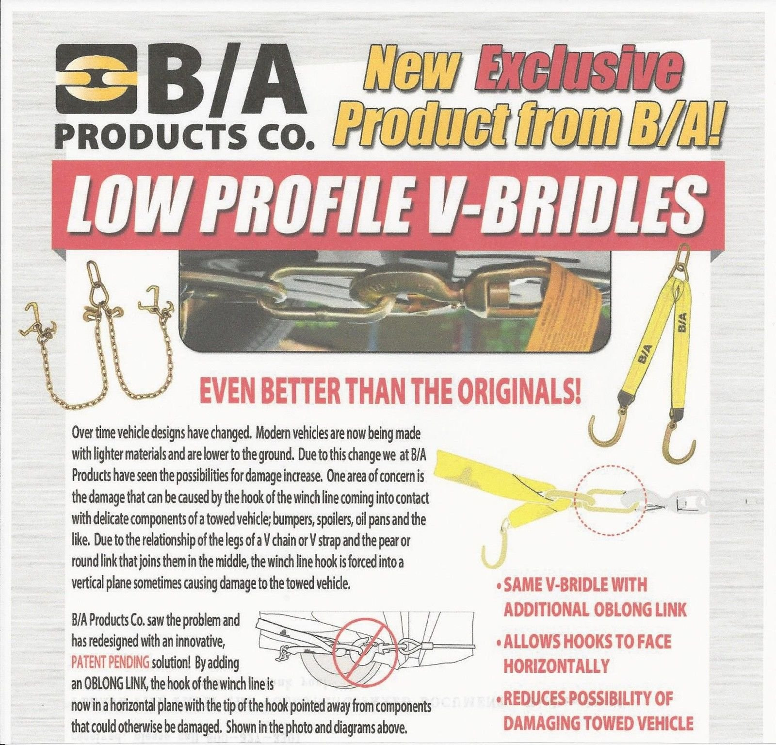 BA Products LP11-8H, Low Profile V Chain, G70, 16'' J, Hammerhead Hook (Combination T Hook and Mini J Hook), New Technology!