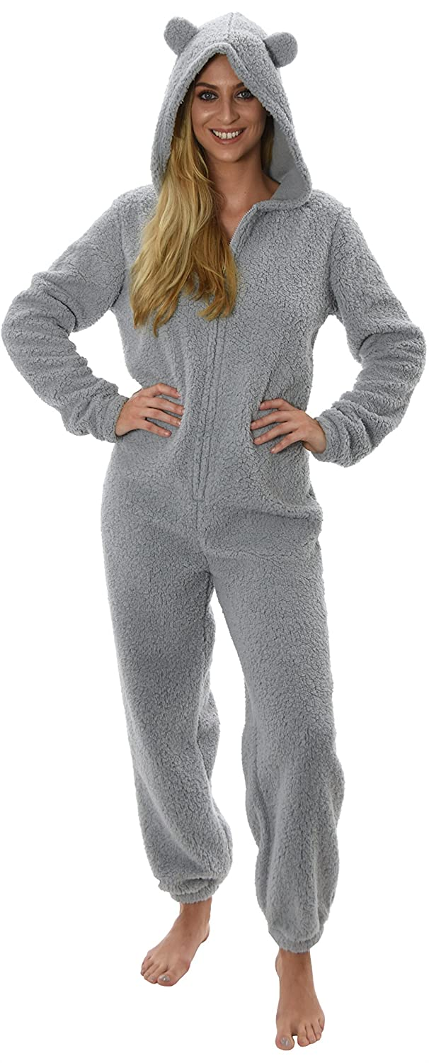 Soft and Cuddly Womens Sherpa Fleece All in One Onesie with Hood and Ears, Grey, X Small 79685