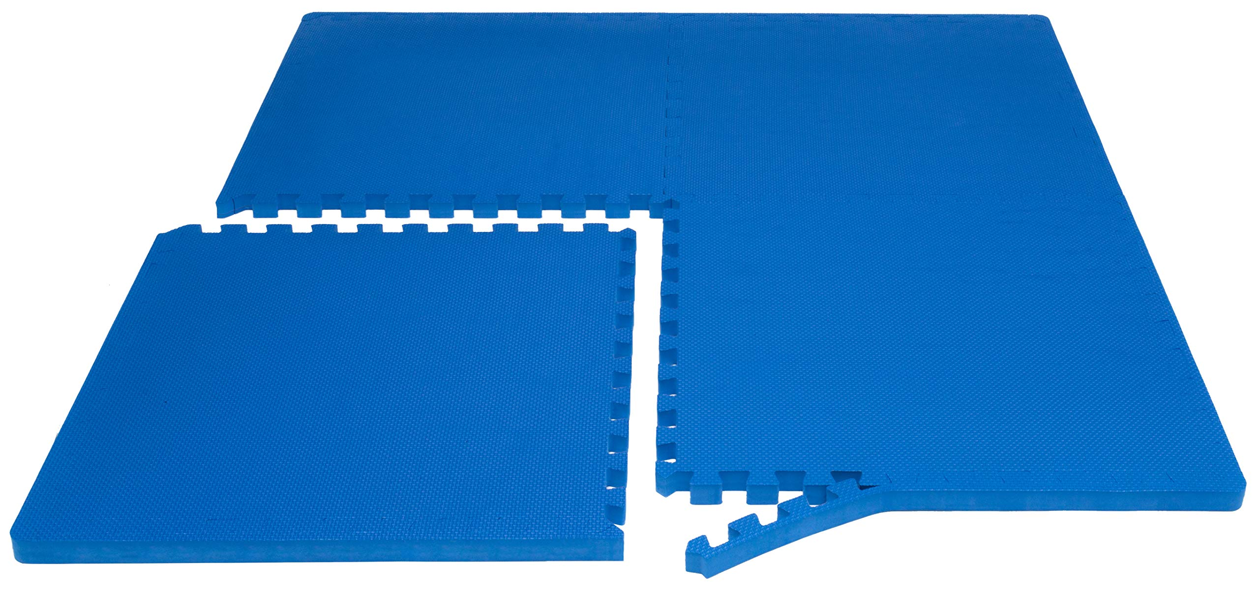 """Prosource Fit Extra Thick Puzzle Exercise Mat 1"""", EVA Foam Interlocking Tiles for Protective, Cushioned Workout Flooring for Home and Gym Equipment, Blue by ProsourceFit (Image #3)"""