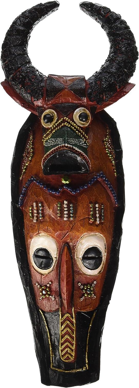Design Toscano Masks of The Congo Cape Buffalo Wall Sculptures, woodtone