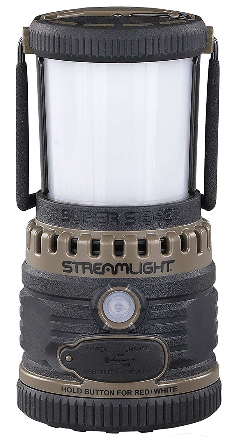 Streamlight 44947 Super Siege 120V AC, Rechargeable and Portable USB Charger, Coyote – 1,100 Lumen