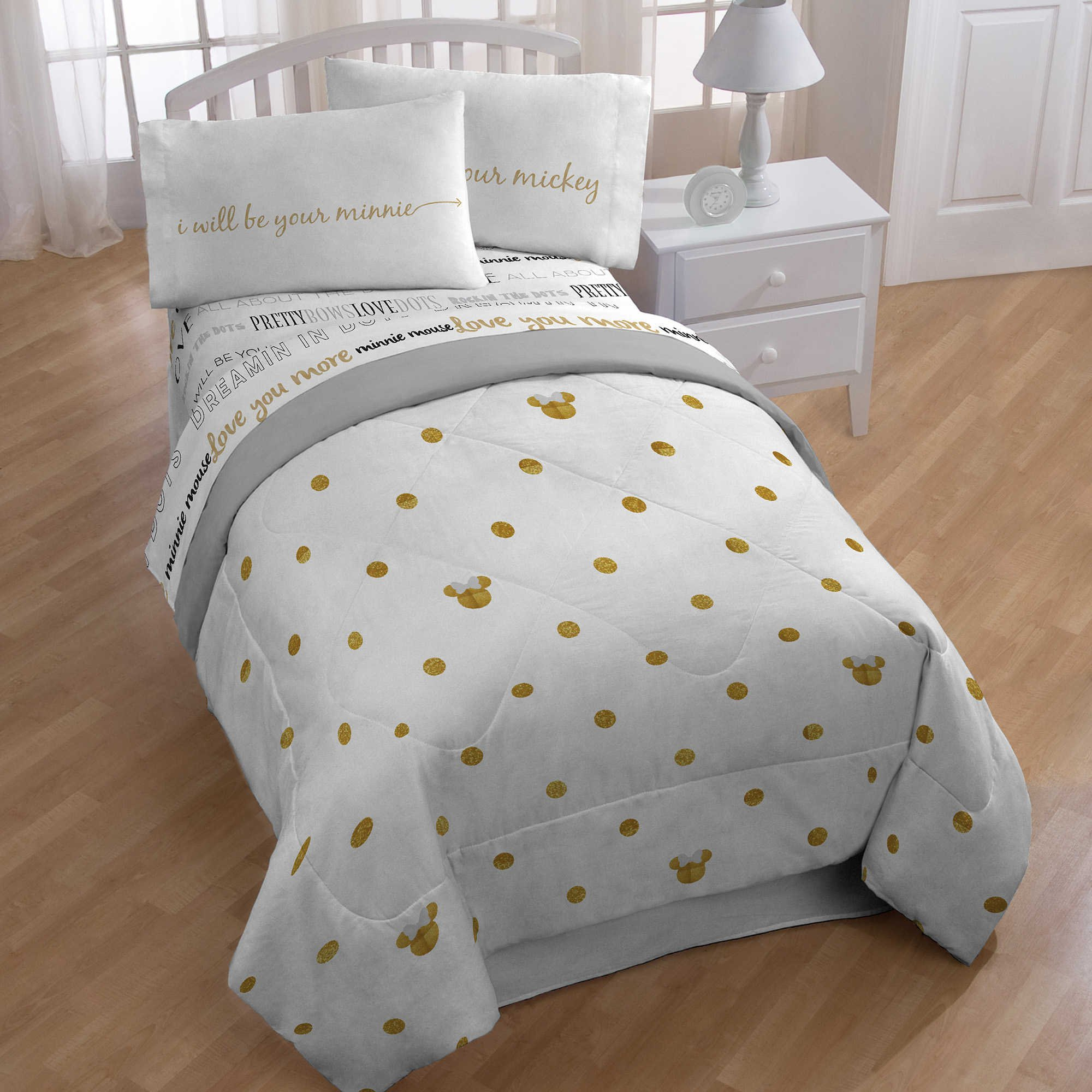 NEW! Disney Minnie Mouse Full Size Bedding Set For Kids, Includes Gold Polka Dot Comforter, Flat Sheet, Fitted Sheet, and Pillowcases Made of 100% Polyester