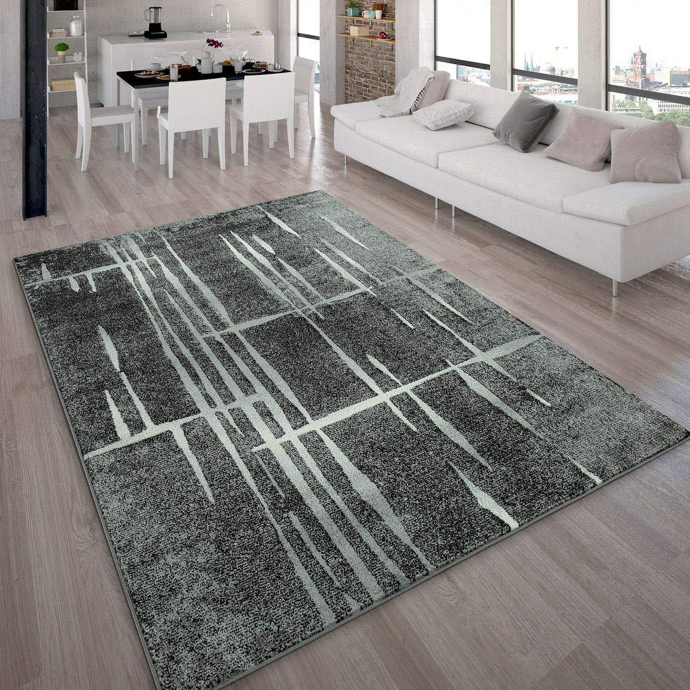Paco Home Designer Teppich Modern Trendiger Kurzflor Teppich in Grau Schwarz Creme Meliert, Grösse 230x320 cm