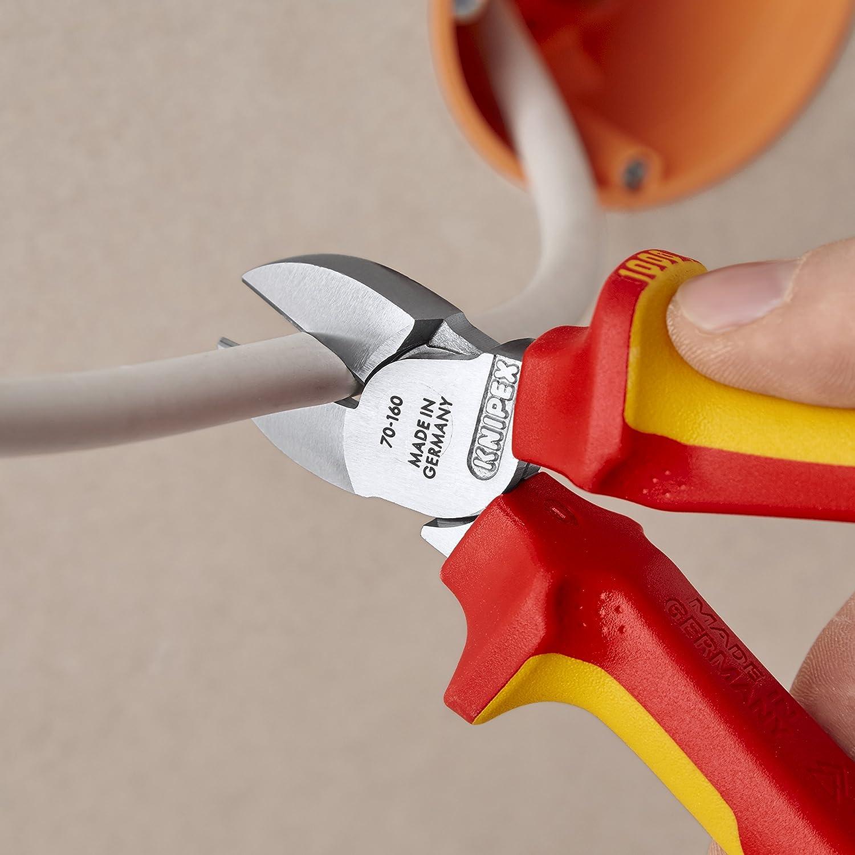seg/ún norma VDE 160 mm KNIPEX 70 06 160 Alicate de corte diagonal cromado aislados con fundas en dos componentes