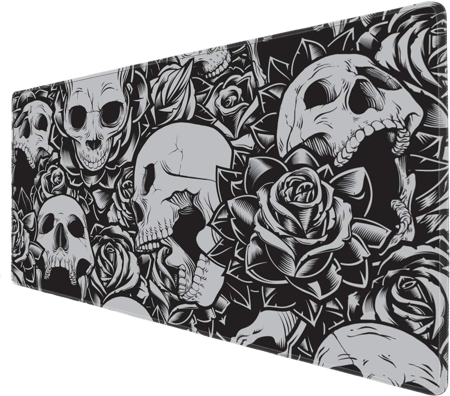 Cholaty Large Mouse Pad XXL Custom Black Skull Computer Game Mouse Mat Desk Pad Keyboard Mat for Laptop Work & Gaming& Office & Home (31.5×11.8×0.15 inch)