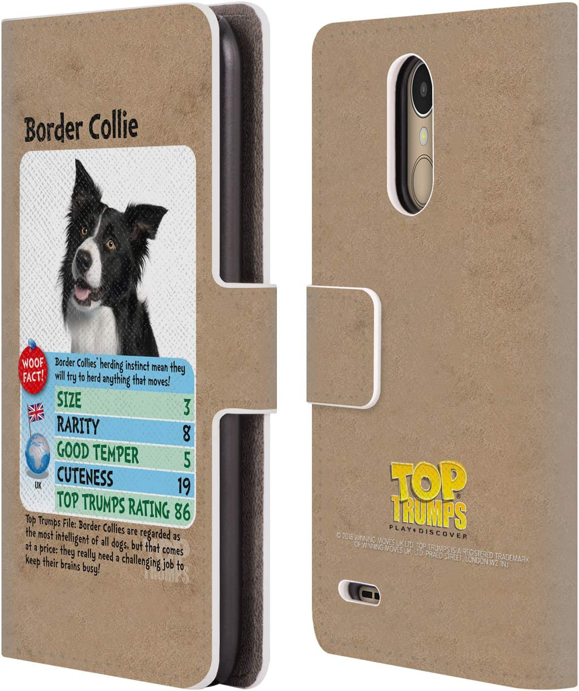 Official Top Trumps Border Collie Dogs 2 Leather Book Wallet Case Cover Compatible for LG K10 (2017) / K20 Plus