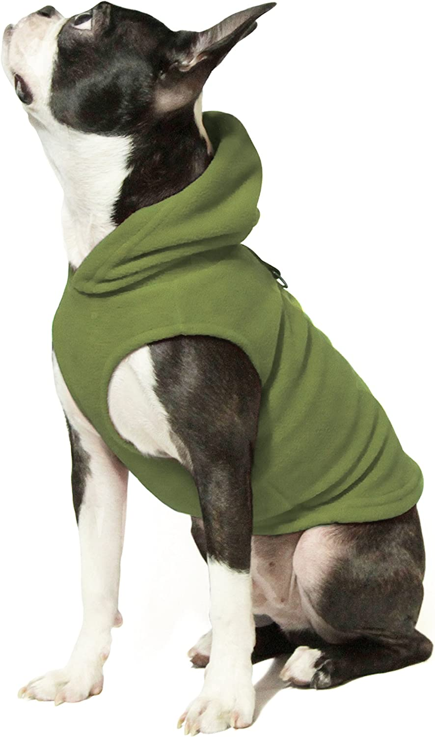 Gooby - Fleece Vest Hoodie, Small Dog Pull Over Hooded Fleece Jacket with Leash Ring