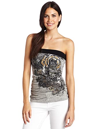 9af01744392 Amazon.com  Southpole Junior s Floral Tube top with Side Ruching  Clothing