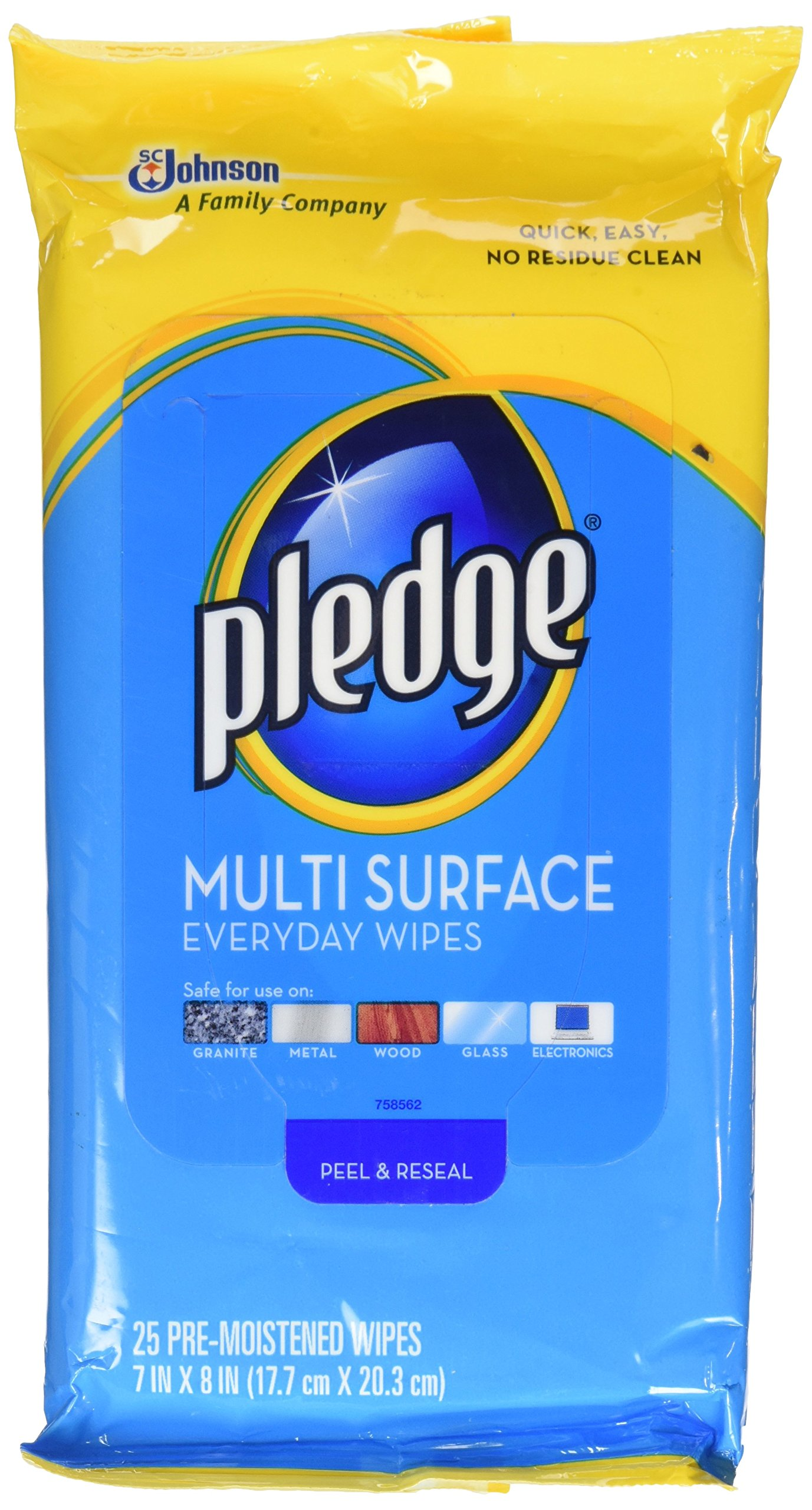 Pledge Multi Surface Everyday Wipes 25 ea (Pack of 2)