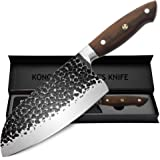 KONOLL Meat Cleaver 7 inch Forged Hammered Kitchen Knife German High Carbon Steel Chinese Knife Butcher knives Vegetable Cutt