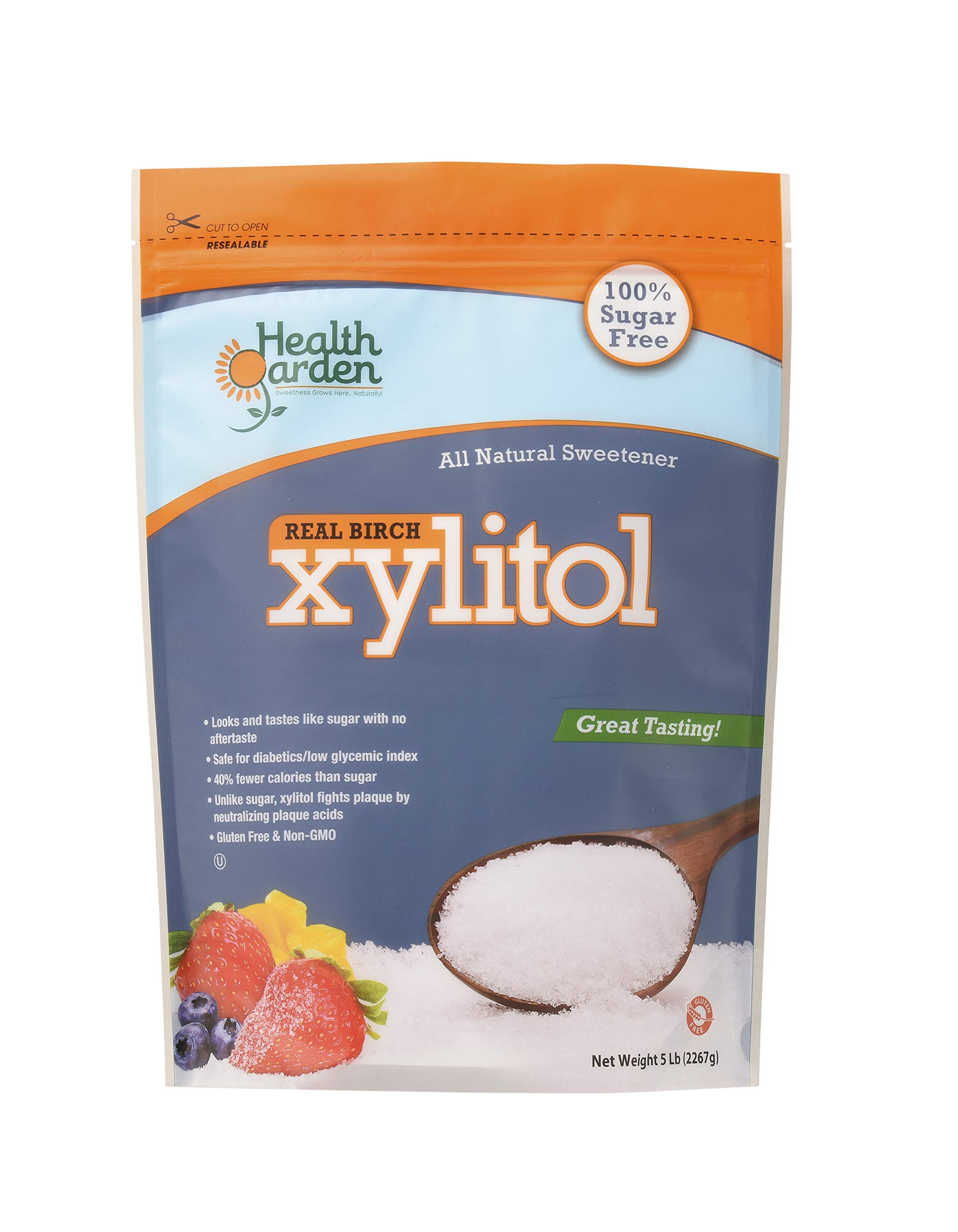 Health Garden Birch Xylitol Sugar Free Sweetener, All Natural, Non GMO (Not from Corn) 30 LB