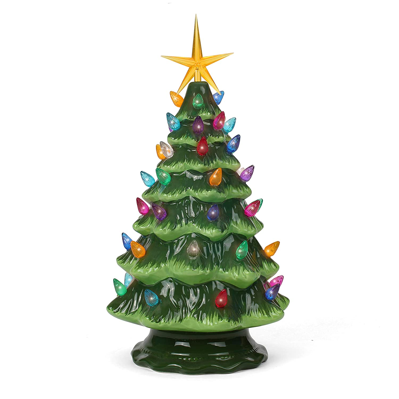 "Ceramic Christmas Tree - Tabletop Christmas Tree Lights - (11.5"" Medium Green Christmas Tree/Multicolored Lights) - Lighted Vintage Ceramic Tree"