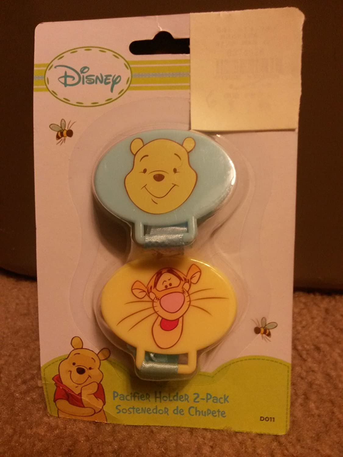 Disney Baby Winnie The Pooh Pacifier Holder 2 Pack Yellow & Blue - Boys