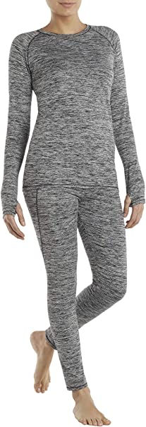 Cuddl Duds Climate Right Stretch Fleece Base Layer Long Sleeve with Thumbholes X-Small Black