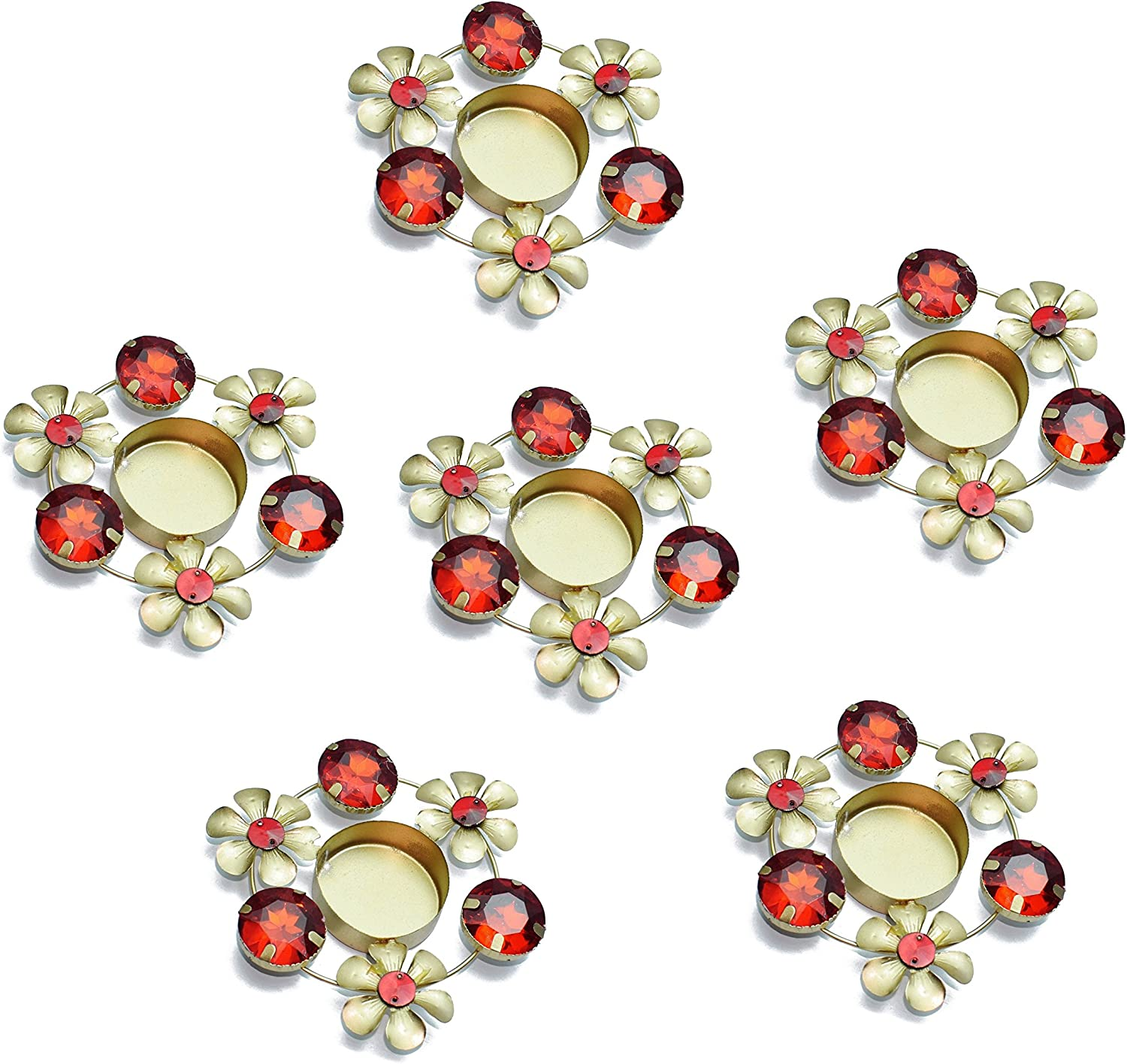 Set of 6 pc Diwali Diya Gift / Decoration Beautiful Candle Tea Light Holder with Red Stones in Random Foil Paint. Diwali Diya Oil lamp / Christmas Decoration..Indian Gift Items..