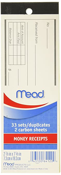 Amazon.com : Mead Money Receipt Book with Duplicates, 66 Sheets ...