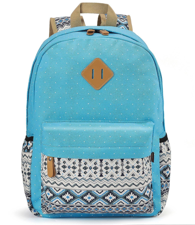 Plambag Teen Girls Backpack Cute, Lightweight Canvas School Backpack Lightweight Canvas Laptop School Backpack Black PB083BK-1