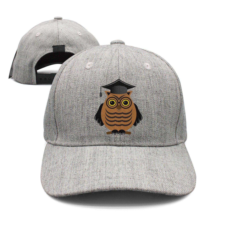 Wise Owl with Glasses and A Graduate Woolen Peak Cap Snapback Hat Vintage Snapbacks Grey