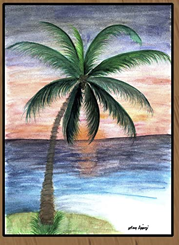 Sunset Palm Tree Large Floor Mat