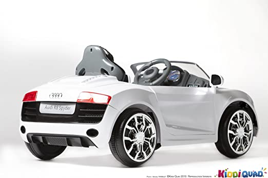 Audi R8 Spydster Blanc, Version Turbo, voiture electrique enfant, 12 volts, 2 moteurs: Amazon.es: Juguetes y juegos