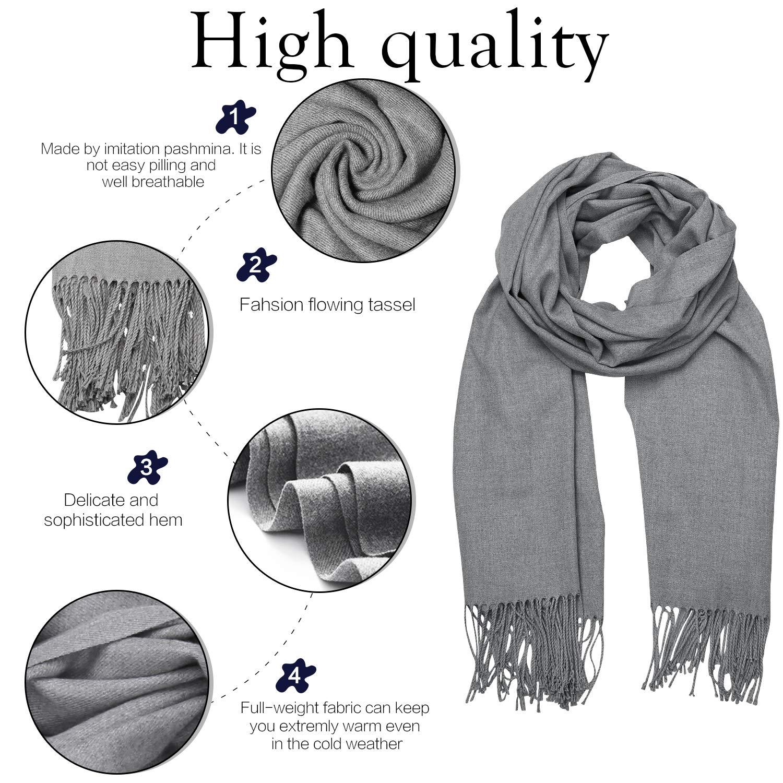e189129b25c SOJOS Womens Large Soft Cashmere Feel Pashmina Shawls Wraps Winter Scarf  SC304 S306