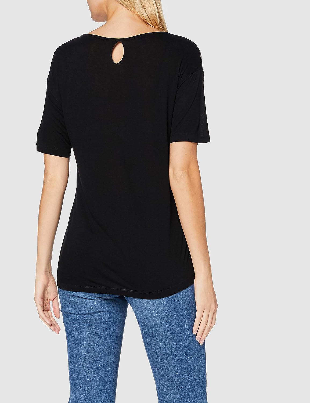 GINA LAURA damskjorta, rand, punkter, bladtryck blus svart