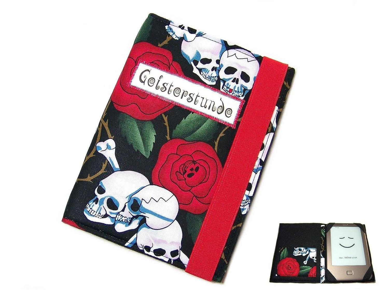 aufklappbare eBook Reader eReader Tablet Hülle Skulls N' Roses, Maßanfertigung, z. B. für Tolino Epos/Tolino Vision 4HD Maßanfertigung
