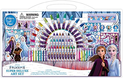 Disney Frozen 2 Art Supplies Set for Coloring with Stampers and Stickers 77 Pcs