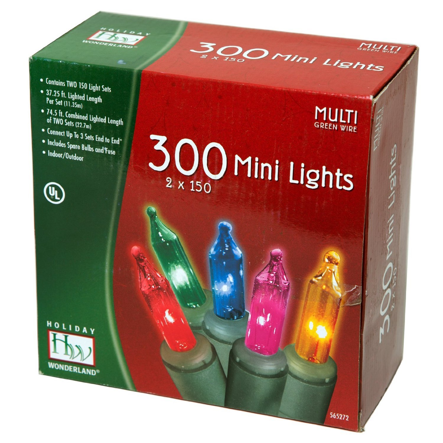 Holiday Wonderland 300ct Multi Colored Light Green Cord Wiring Up A Emergency 2 Pack Home Kitchen