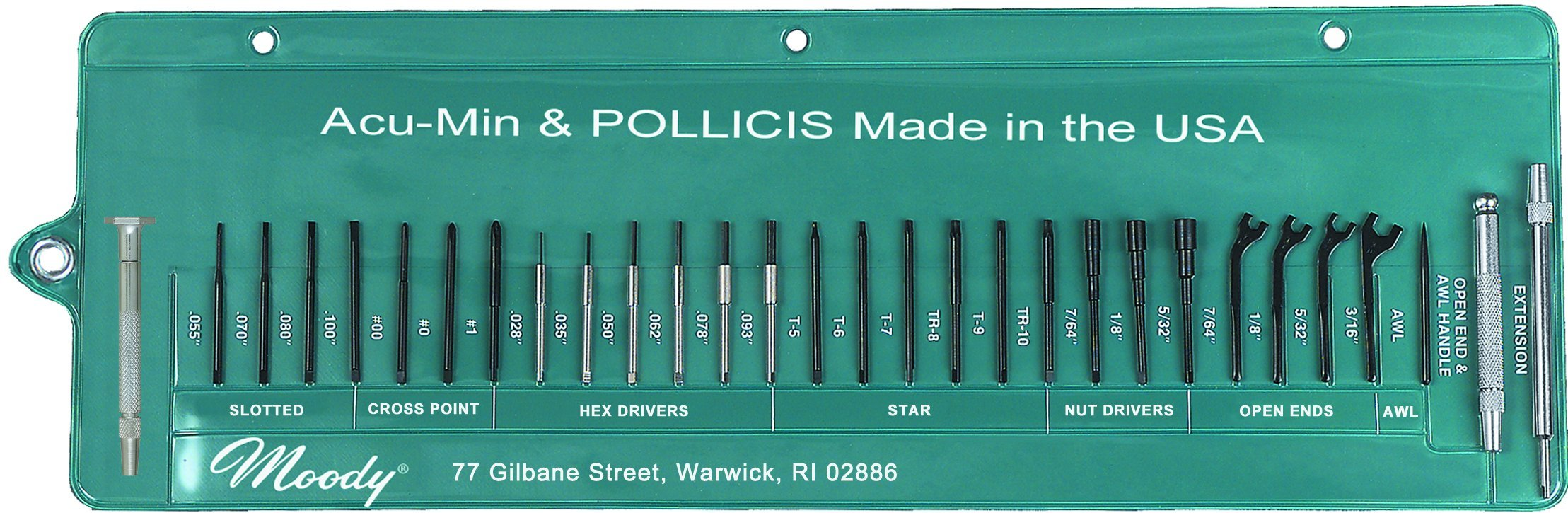 Moody Tools 59-0245 Stainless Steel Screwdriver Set, 30-Piece