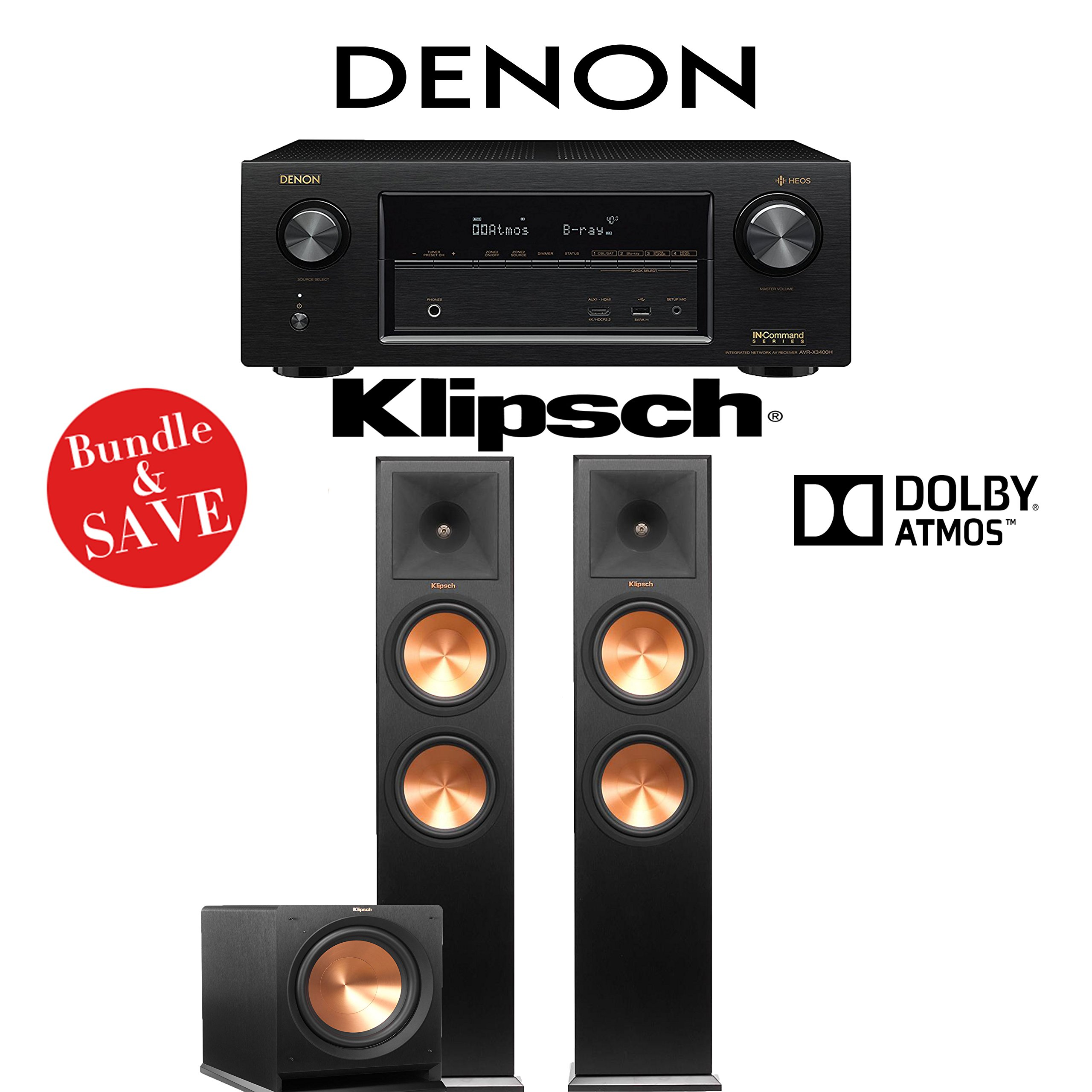 Denon AVR-X3400H 7.2-Channel Full 4K Ultra HD Network AV Receiver + Klipsch RP-280FA (Black Vinyl) + Klipsch R-112SW - 2.1.2-Ch Dolby Atmos Home Theater Package by Klipsch