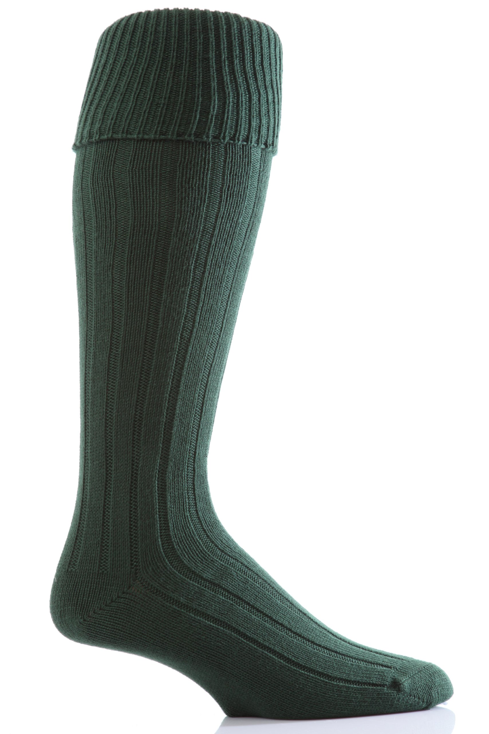 Glenmuir Men's 1 Pair Birkdale Golf Wool Knee High Socks with Turn Over Cuff 8-12 Bottle Green by Glenmuir